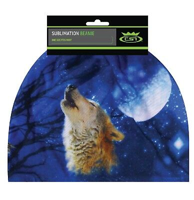 Wolf Howling Moon Beanie Hat Skull Cap Head Wear Sublimation Color Sock Capsmith (Wolf Head Hat)