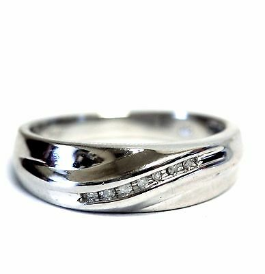 (925 sterling silver .08ct gents diamond channel wedding mens ring 6.6g vintage)
