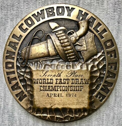 "National Cowboy Hall of Fame - April 1974 - 2 3/4"" Bronze Medal -Fast Draw Champ"