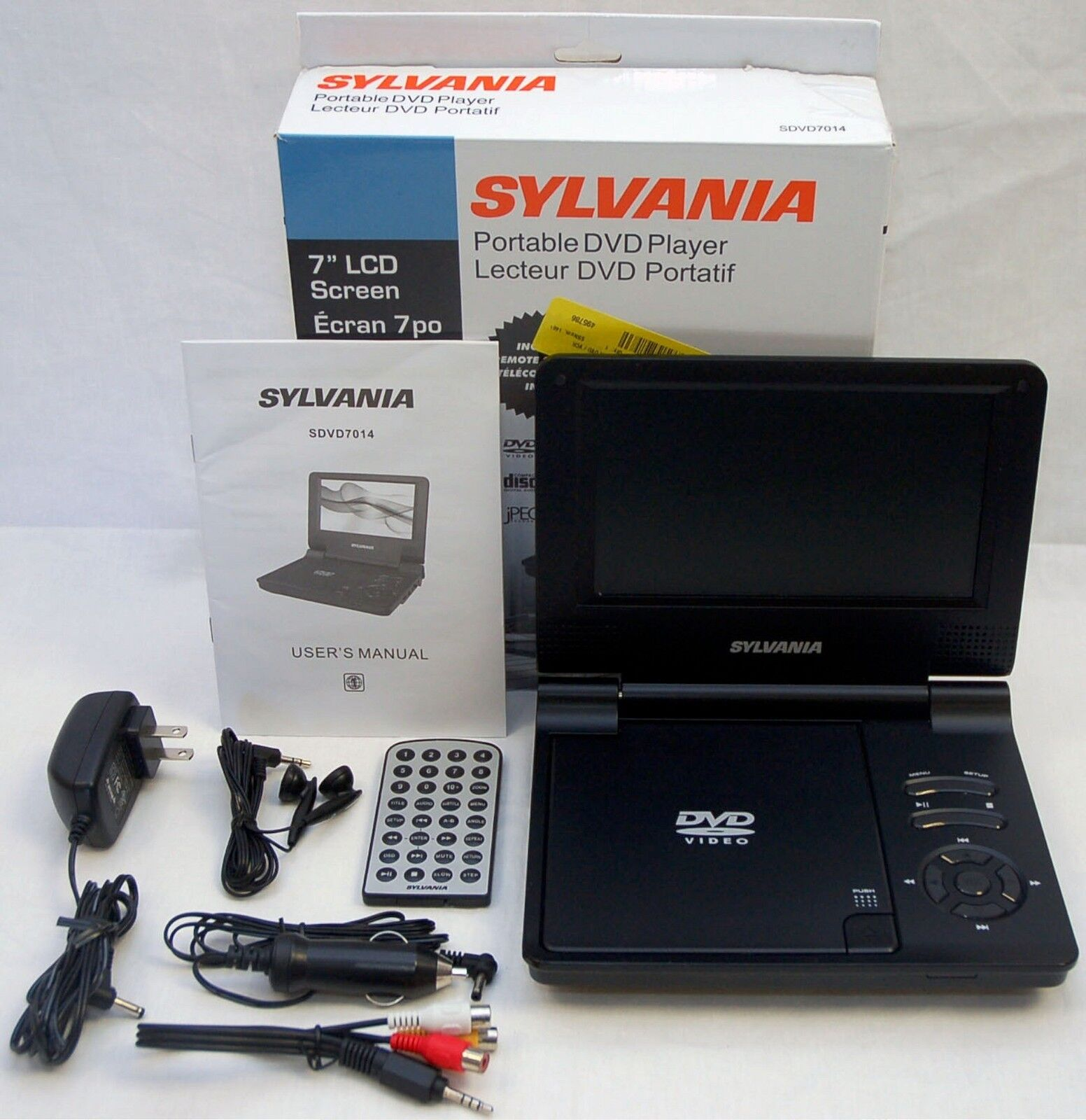 sylvania sdvd7014 7 lcd screen portable dvd player cd. Black Bedroom Furniture Sets. Home Design Ideas