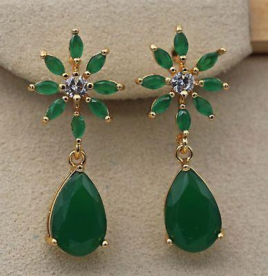 (18K Yellow Gold Filled - 1.2'' Flower Teardrop Emerald Jade Topaz Stud Earrings)