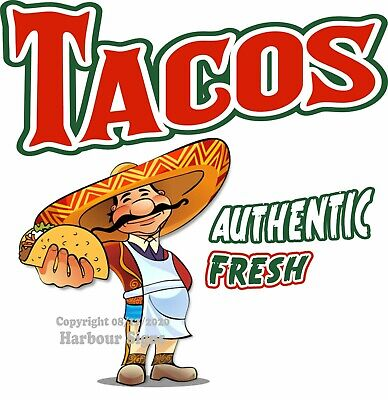 Tacos Decal Choose Your Size Mexican Food Truck Concession Vinyl Sign Sticker