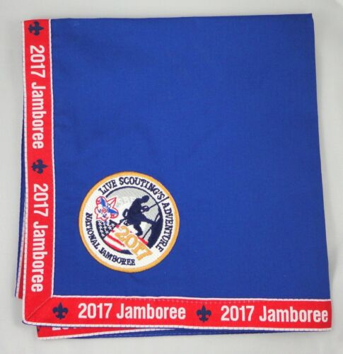"""NEW 2017 BSA NATIONAL JAMBOREE OFFICIAL """"PARTICIPANT"""" EMBROIDR NECKERCHIEF SCARF"""