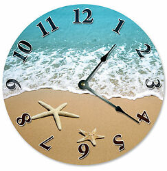 STARFISH AT SHORELINE Beach CLOCK Large 10.5 inch Wall Clock, SHELLS SAND - 2107