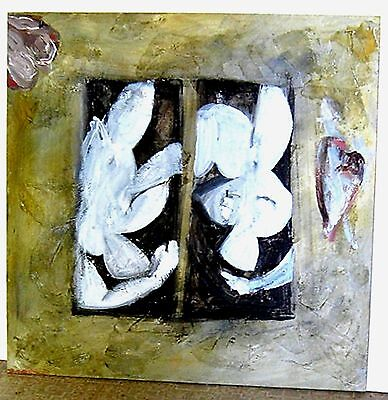 """Large Abstract Flowers Impasto Painting--24""""x24"""" on Board-Frame Ready-NICE"""