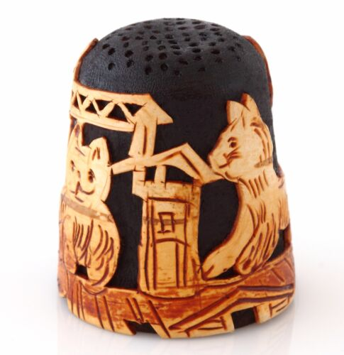 Birch Bark Wooden Thimble Cats on the Roof Handmade Limited Edition Collectible