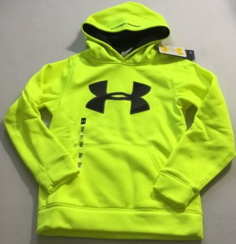 Under Armour Boys Big Logo Sweater Hoodie 1249148 Yellow/Black 731 Size Youth XL