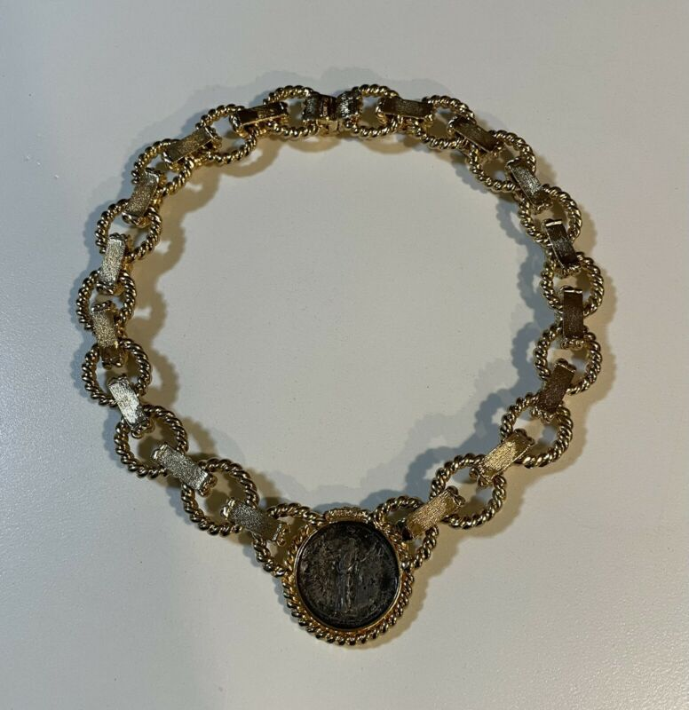 Beautiful Vintage Ciner Heavy Gold Plated Roman Coin Collar Statement Necklace