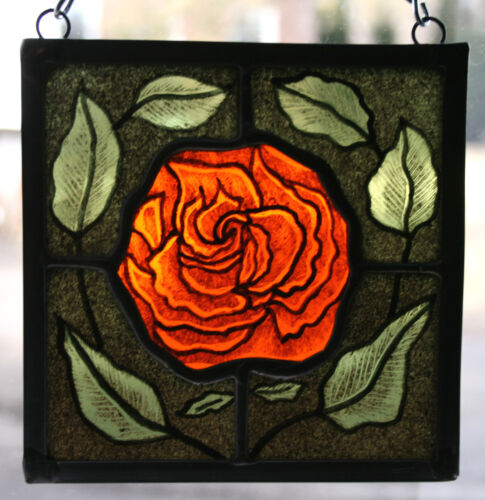 Stained Glass,Hand Painted,Kiln Fired Red Rose, #1406-02