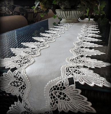 "Antique White Dresser Scarf 64"" Formal European Lace Mantel Scarf  Runner Doily"