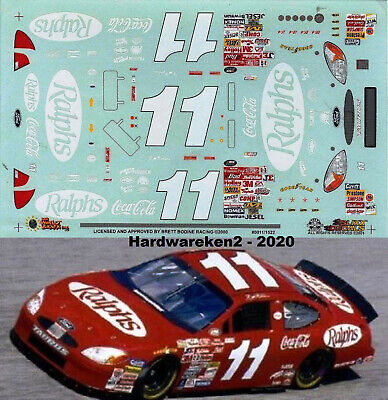 NASCAR DECAL #11 RALPHS COCA-COLA 2000 FORD TAURUS BRETT BODINE SLIXX