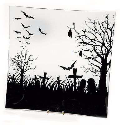 Glass Halloween Plate Tray Bat Graveyard Design 7.75