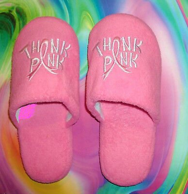 BREAST CANCER AWARENESS PINK RIBBON PLUSH SLIPPERS