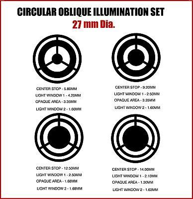 27mm Diameter Circular Oblique Illumination Col Microscope Filter Set