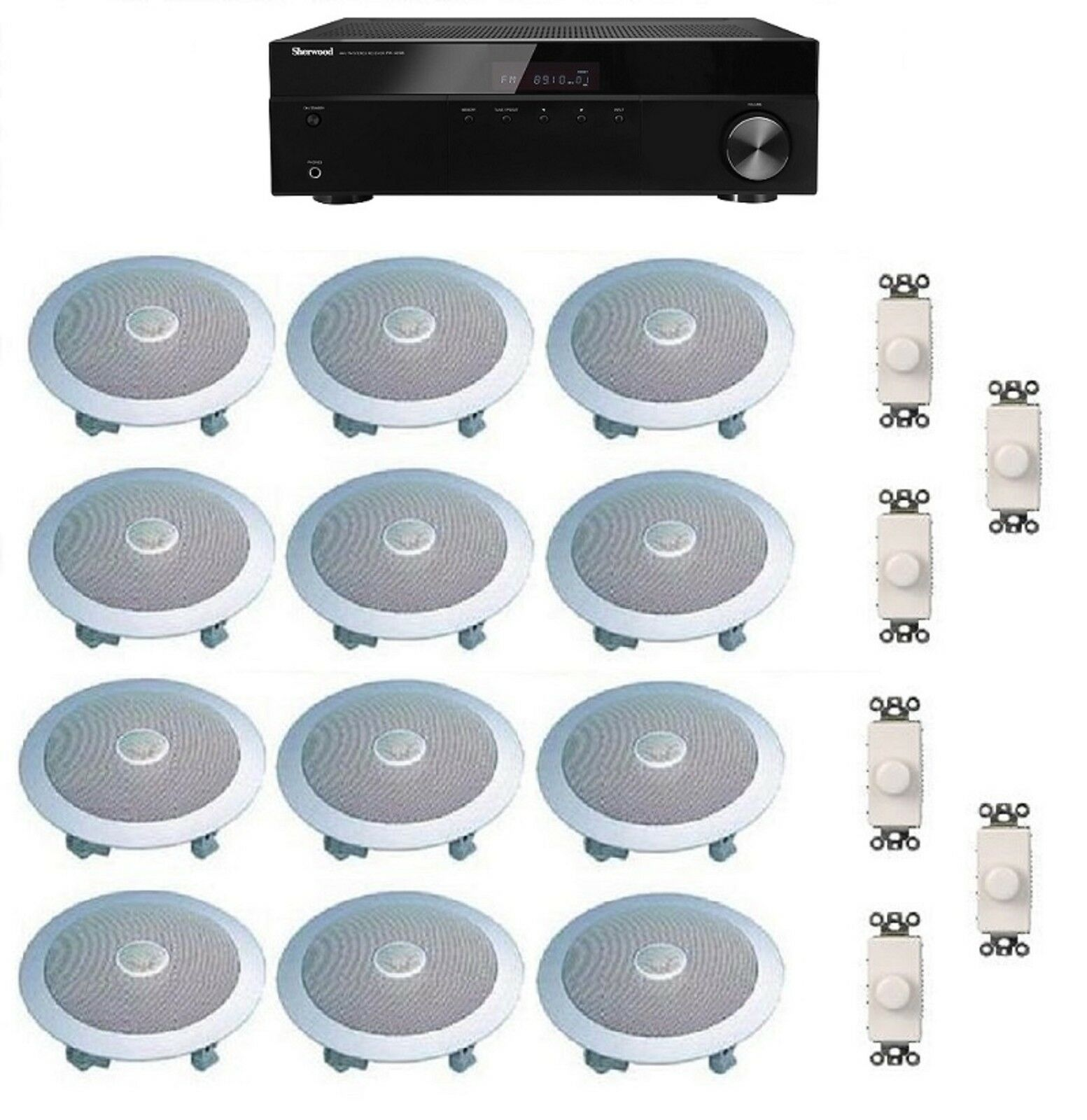 HOME AUDIO SOUND SYSTEM- FLUSH IN-CEILING SPEAKERS & VOL CON