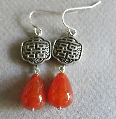 Signed Atara Vintage Chinese Sterling Carnelian Double Happiness Earrings