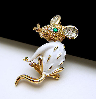 Scarce Crown Trifari Figural Mouse Pin Pave Rhinestone Ears White Enamel on Lookza