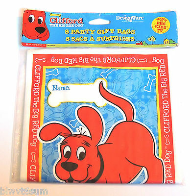 Clifford the Big Red Dog Party Supplies- 8 Pack Loot Bag choice #1 (Clifford Party Supplies)