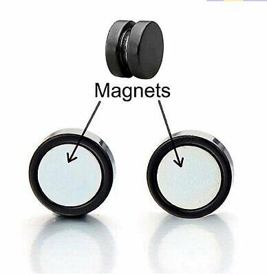 Unisex Black Steel Magnetic Non-piercing Clip on Cheater Fake Ear Stud Earrings Earrings