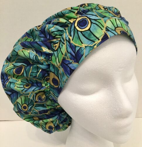 Peacock Print Scrub Hat Medical Bouffant Medium Surgery Hat