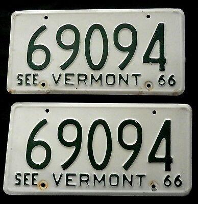 1966 Vermont License Plates  69094