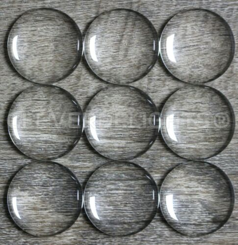 """Round Glass Cabochons - Clear - 1/2"""" to 3"""" Diameter - Transparent Dome Cabs"""