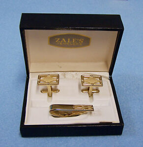Set Of Mens Goldtone Cuff Links Tie Clip Clasp In Gift Box