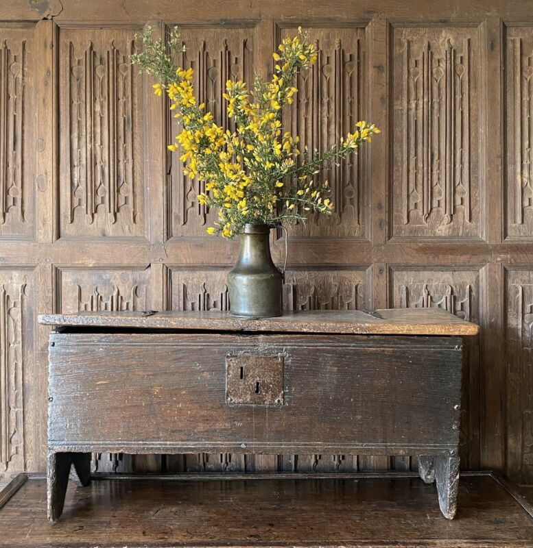 A Late 16th Century Oak Boarded Chest Of Small Proportions