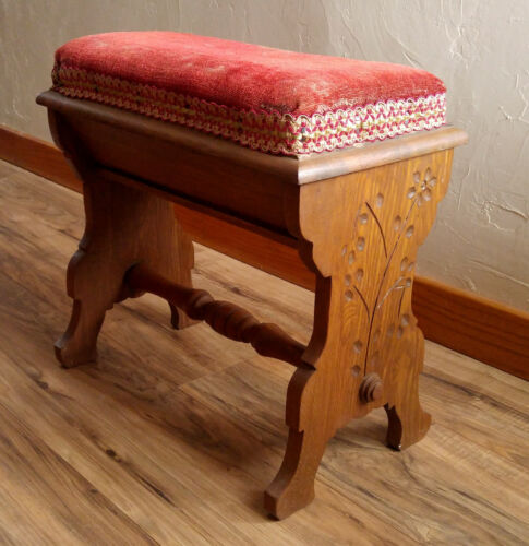 Antique Victorian 19th c. Spoon Carved Red Velvet Piano Bench, Seat Compartment
