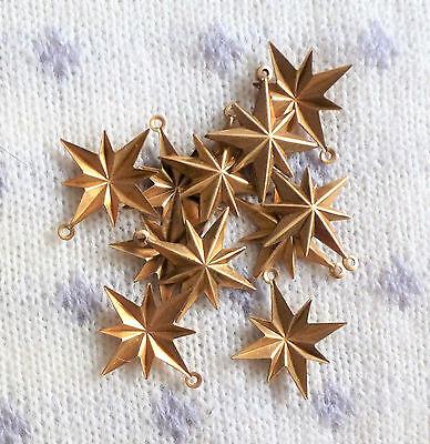 Lot Vintage Brass Stampings Unused Old Stock Ornate Stars Findings, Crafts