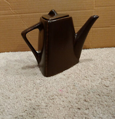 Designpac Triangular Modern/Art Deco Tea Pot for 1-Rustic Brown Stoneware/Lid