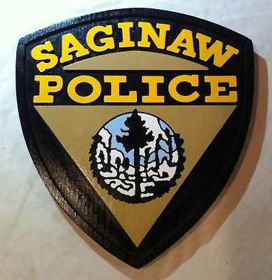 Police Saginaw 3D  routed custom wood Patch plaque Sign New