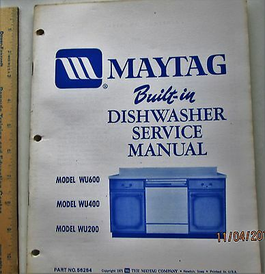 maytag Built-in  dishwasher service manual 1971