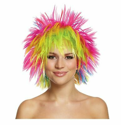 Pride RAINBOW PUNK WIG Fancy Dress Party Clown Funky Disco Afro Hair Costume UK