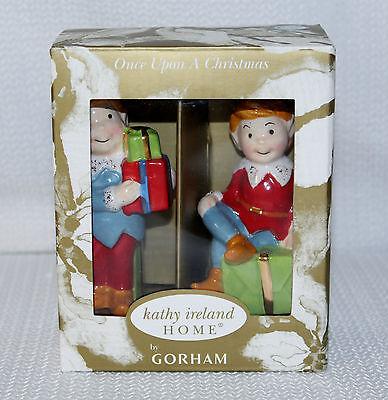 Gorham Once Upon A Christmas Elves Salt & Pepper Shakers New IOB Kathy Ireland