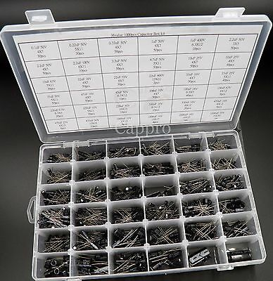 36value Electrolytic Capacitor Assortment Box Kit 1000pcs New Radial