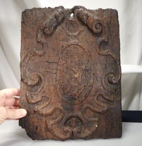 Antique Very Old Carved Wood Panel with Coat of Arms -  56168