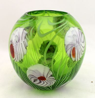 """New 6"""" Hand Blown Glass Art Vase Bowl Candle Holder Green Red White Flowers"""