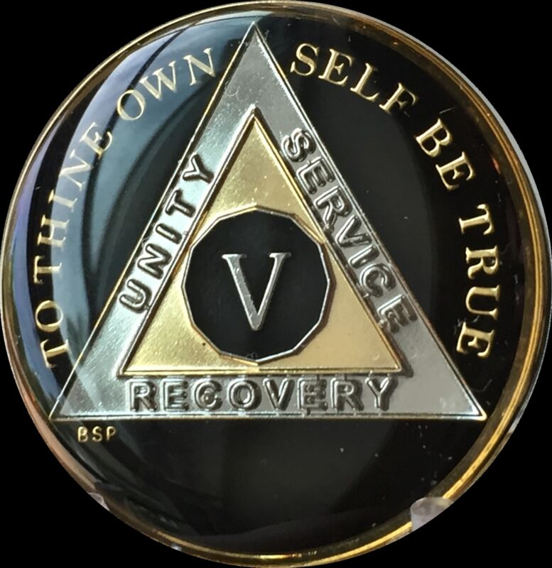 5 Year Classic Black AA Alcoholics Anonymous Medallion Chip Tri-Plate Gold Five