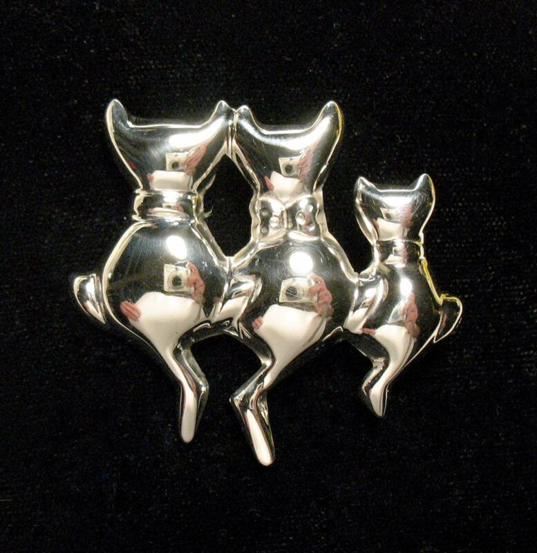 Cute Mexican Sterling Silver Pin / Brooch w/ Three Cats - 10 grams - Exc. Cond.