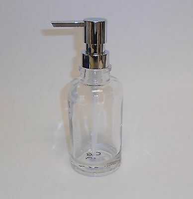 NEW OGGI CLEAR GLASS LOTION,SOAP DISPENSER+POLISHED SILVER HARDWARE PUMP