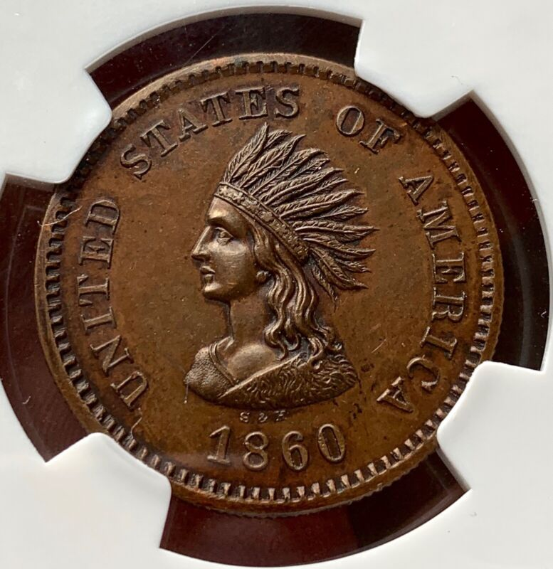 1860 Smith and Hartmann Copper Miller NY-817 NGC MS64BN
