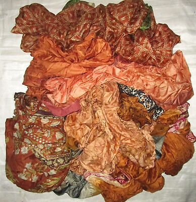 UK LOT PURE SILK Antique Vintage Sari REMNANT Fabrics 100 GRAMS Rust #ABM53