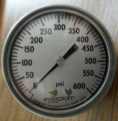 Ashcroft 3 Pressure Gauge 0-600 Psi Type 1009