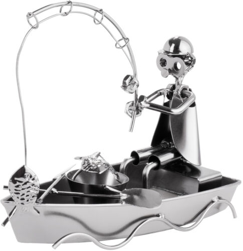 BRUBAKER Nuts and Bolts Sculpture Angler in Boat - Handmade Metal Man Fishing