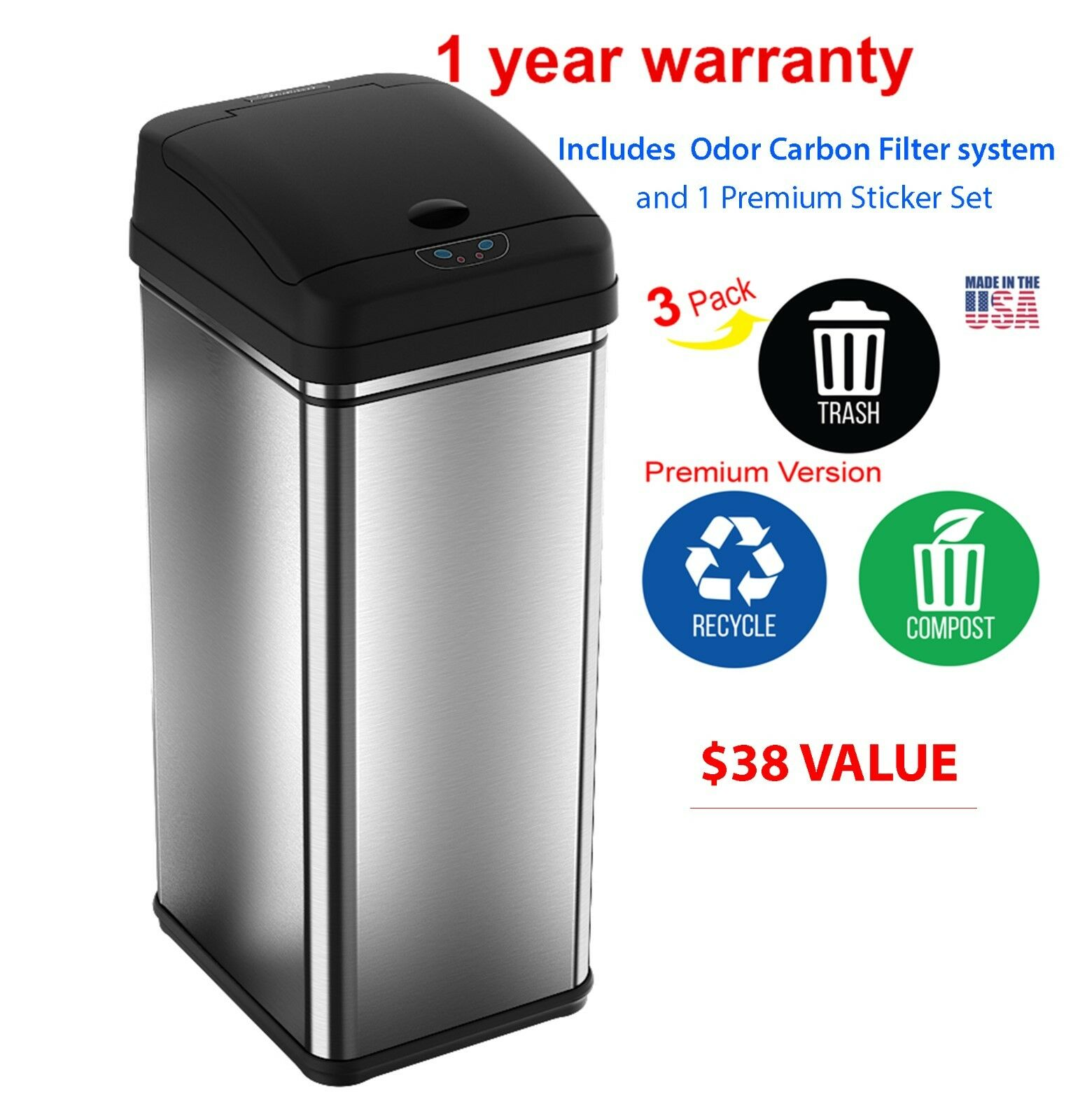 New 13-Gallon Touch-Free Sensor Automatic Stainless-Steel Trash Can ...
