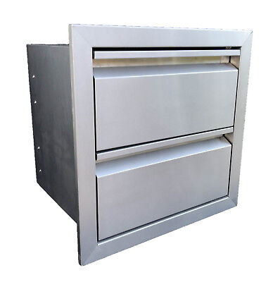 "DOUBLE DRAWER OUTDOOR KITCHEN BBQ ISLAND 304 STAINLESS STEEL 19""W x 19""H"