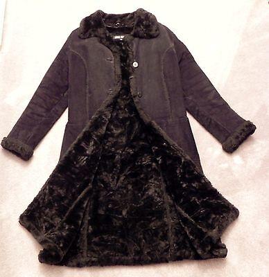 Women's Steve Madden Black Genuine Suede Leather Long Maxi Coat Size Medium