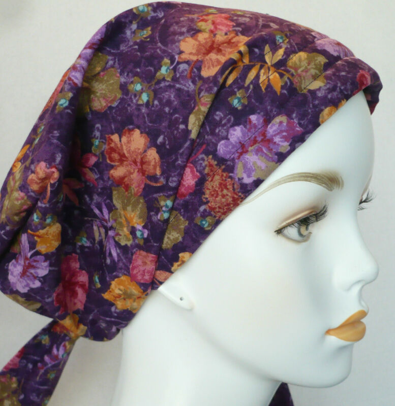 Cancer Chemo Hairloss Scarf Hat Head Covering Turban Hair Loss Alopecia Purple