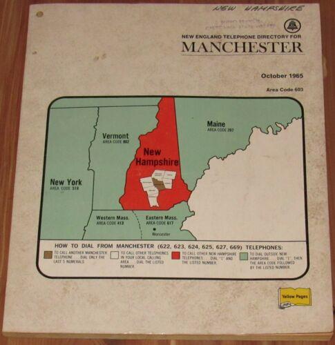 1965 NEW HAMPSHIRE TELEPHONE DIRECTORY, AREA CODE 603, MANCHESTER, AUBURN